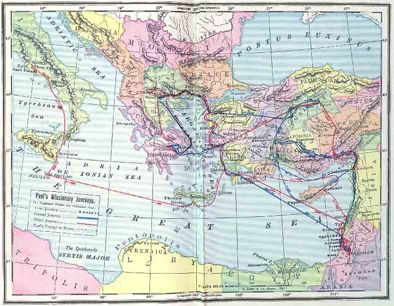Map: Paul's Missionary Journeys